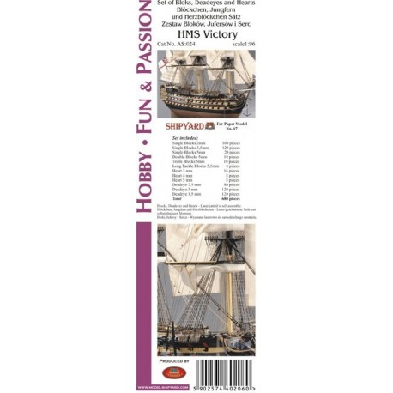 AS:024 Komplet Bloków, Jufersów oraz serc HMS Victory